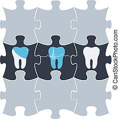 dente, tratamento, símbolo, em, a, quebra-cabeça, formas