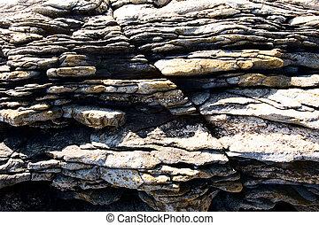 dentelé, texture, rocher