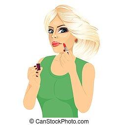 dentellare labbri, donna, applicazione rossetto