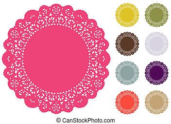 dentelle, couleur, endroit, pantone, napperon, nattes