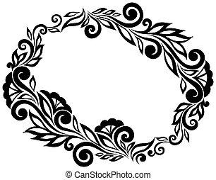 dentelle, feuilles, isolé, élément, noir, white., stylique floral, fleurs blanches, style., retro