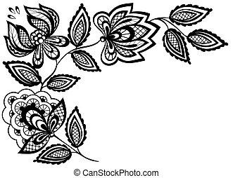dentelle, feuilles, isolé, noir, fleurs blanches