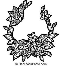 dentelle, isolé, noir, white., stylique floral