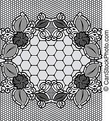 dentelle, modèle, cadre, arrière-plan grille, floral, noir