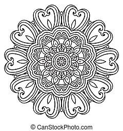 dentelle, modèle, contemporain, napperon, floral, rond