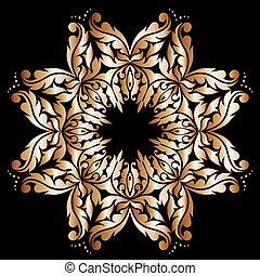 dentelle, or, conception modèle, fond, vendange, rond, rouges, swirls.