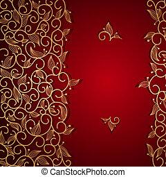 dentelle, or, ornement, invitation, floral, rouges