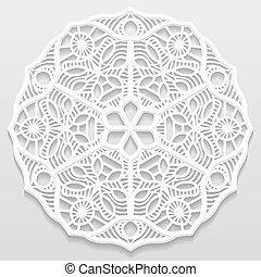 d coratif vecteur eps10 ornement flocon de neige mod le napperon mandala papier. Black Bedroom Furniture Sets. Home Design Ideas