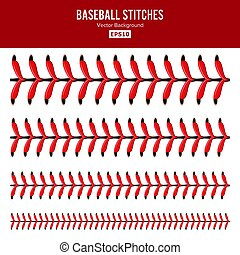 dentelles, vector., sports, dentelle, base-ball, isolé, balle, set., white., rouges, points