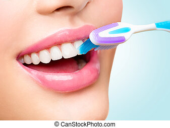 dentes, brushing., bonito, branca, dentes saudáveis