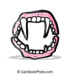 dentes, caricatura, vampiro
