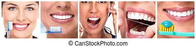 dentes, com, toothbrush.