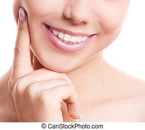 dentes, de, um, mulher