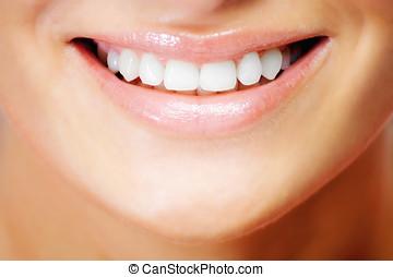 dentes, de, um, sorrindo, mulher jovem
