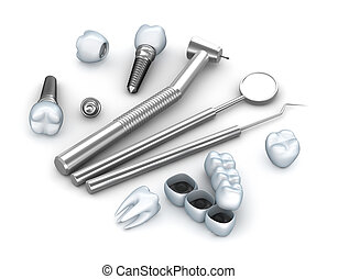 dentes, implants, e, dental