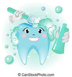dentes limpando
