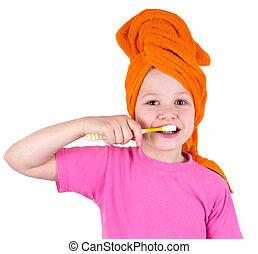 dentes, menina, escovas, escova, dente