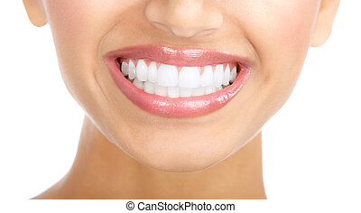 dentes, mulher, sorrizo