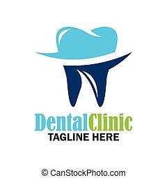dentes, para, odontologia, /, stomatologist, /, dental, clínica, logo., apartamento, vetorial, ilustração