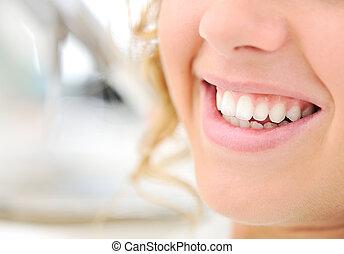 dentes saudáveis, bonito, sorrizo, mulher jovem