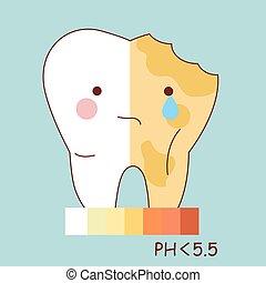dentes saudáveis, e, decadência dente