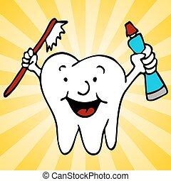 dentes saudáveis, personagem, limpo, dente