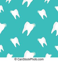 dentes saudáveis, seamless, pattern., vetorial, fundo