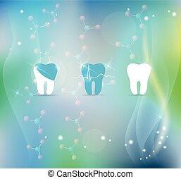 dentes, tratamento, símbolo, fundo