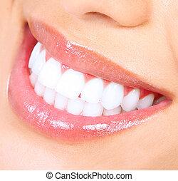 dentes, whitening., mulher, smile.