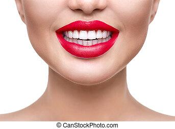 dentes, whitening., saudável, branca, sorrizo, closeup., bonito, menina, com, lábios vermelhos, isolado, branco