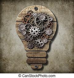 denti, concept., idea, lampada, gears., bulbo