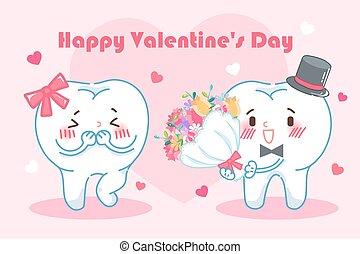 denti, felice, giorno, valentina