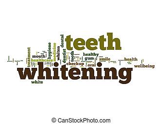 denti, imbiancando, parola, nuvola