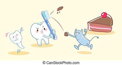 denti, lotta, cartone animato, batterio