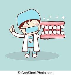 dentier, dentiste, dessin animé, heureux