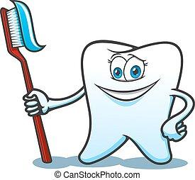 dentifricio, cartone animato, spazzola, dente