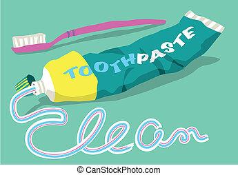 dentifricio, parola, spazzola, pulito