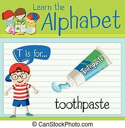 dentifricio, t, lettera, flashcard