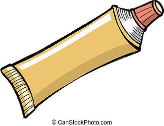 dentifricio, tubo, altro, pasta