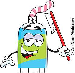 dentifricio, tubo, cartone animato