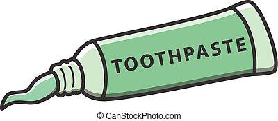 dentifricio, vettore, cartone animato