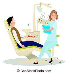 dentist., 患者, レセプション, オフィス