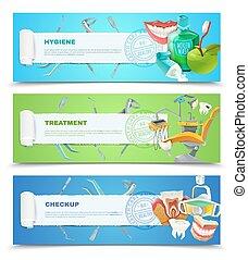Dentist 3 Flat Horizontal Banners Set