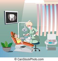 Dentist and cute girl on dental chair. Vector illustration