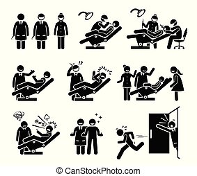 Dentist and dental clinic with people funny reactions.