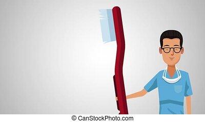 Dentist and dental hygiene HD animation - Dentist with brush...