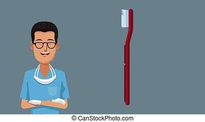 Dentist and dental hygiene HD animation - Dentist with ...