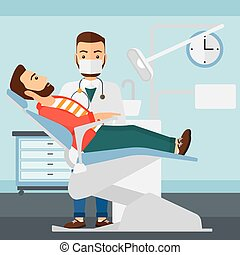 Dentist and hipster man with the beard in dentist chair in exam room vector flat design illustration. Square layout.