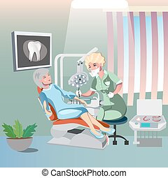 Dentist and patient woman in chair
