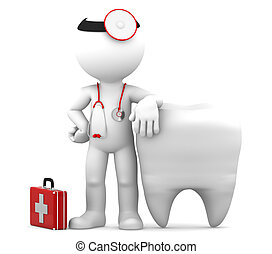 Dentist and Teeth. Isolated - Dentist with stethoscope...